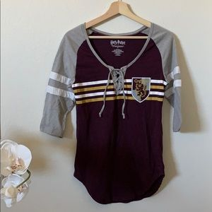Harry Porter Gryffindor lace up 3/4 sleeve top